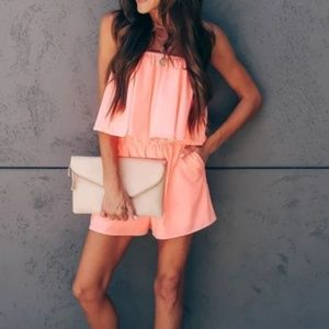 Peach Strapless Pocketed Romper